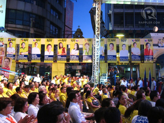 LINE UP. The posters of Team PNOY candidates line the archways of Plaza Miranda at the Team PNOY proclamation rally on Feb. 12, 2013.