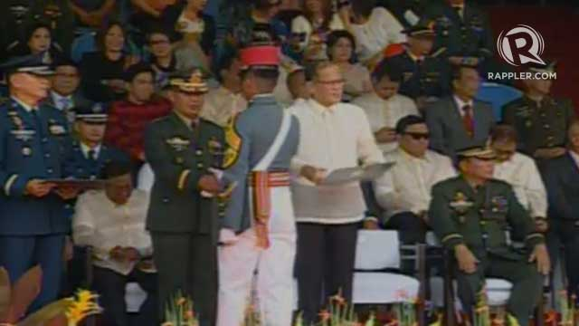 CLASS 2014. President Aquino presides over the graduatiion ceremony at Fort del Pilar in Baguio City. Screengrab from PTV livestream