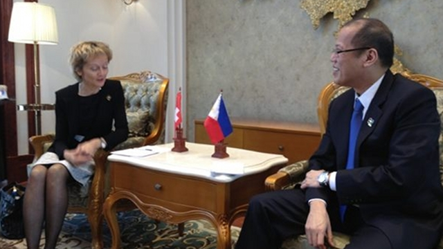 EUROPEAN COOPERATION. President Aquino meets with Swiss Confederation President Eveline Widmer-Schlumpf in one of 3 high-level meetings with European leaders at the sidelines of the ASEM in Laos. Photo by Finance Secretary Cesar Purisima
