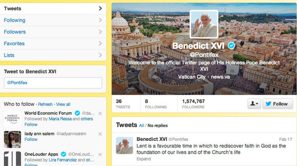 BYE TWITTER? Screenshot of Pope Benedict XVI's Twitter account