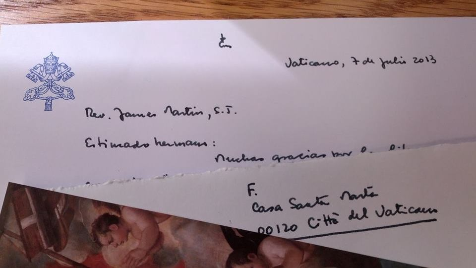 FROM THE POPE. Fr James Martin gets a handwritten 'thank you' note from Pope Francis. Photo courtesy of Fr James Martin