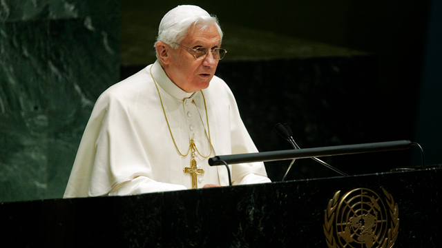 WORLD LEADER. Pope Benedict XVI addresses the United Nations General Assembly in April 2008. Photo from UN Multimedia