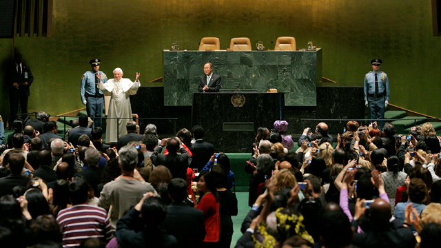 STEPPING DOWN. The Vatican says Pope Benedict XVI, a world leader for 7 years, will stay away from the limelight starting February 28. File photo from UN Multimedia