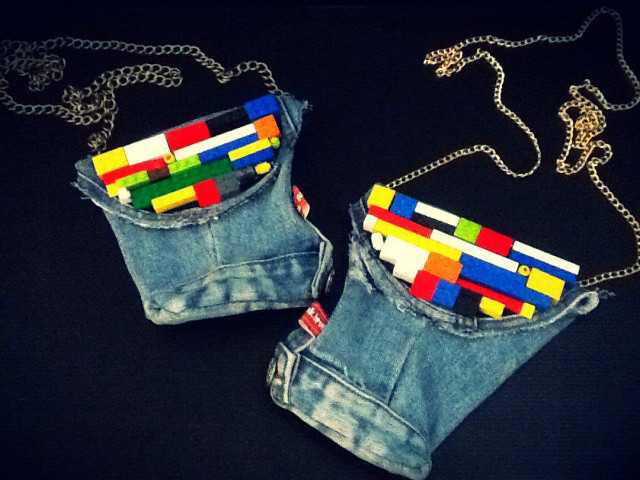 Popjunklove's 'lego-lized' denim pouches