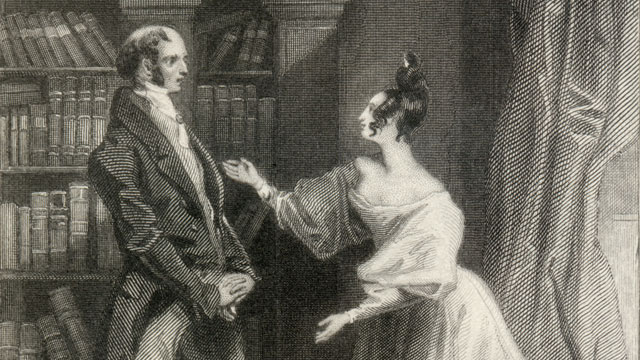 An 1833 engraving of a scene from Chapter 59 of Jane Austen's Pride and Prejudice. Public domain. www.wikipedia.org