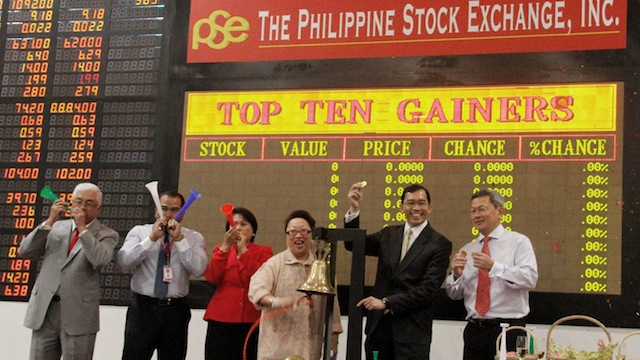 UPBEAT START. Philippine stocks climb to a new record on January 2, 2013, the first trading day of the year. Photo courtesy of PSE