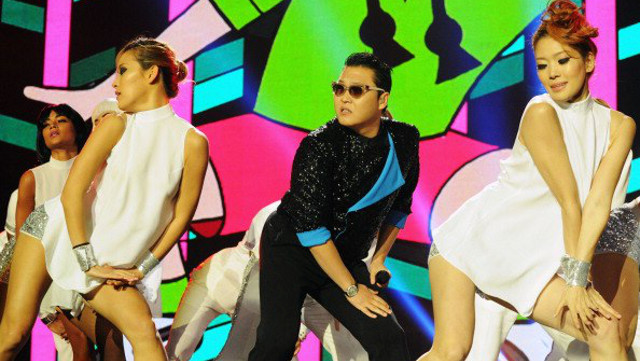 OPPA BILLION STYLE! Psy and his dancers perform at the MTV European Music Awards last November. Photo from Psy's official Facebook page