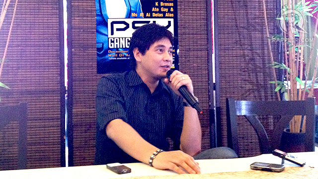 ARTIST WITH A HEART. That's Ntertainment's Joed Serrano told the press that Psy asked for proceeds of his concert to go to a charity, even before Pablo hit the country. Photo and video by Kai Magsanoc