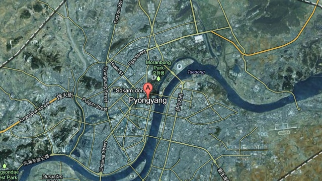 A satellite view of Pyongyang, North Korea, on Google Maps. Image courtesy of Google.