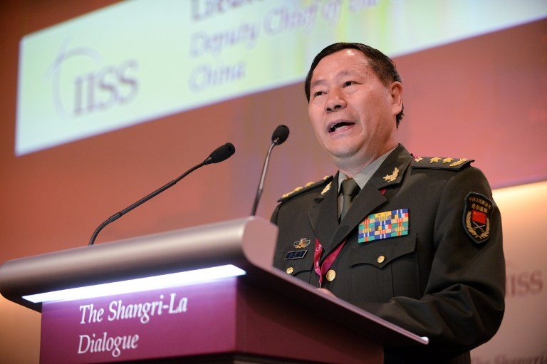 'LEGITIMATE' PATROLS. Top Chinese military official, Lieutenant General Qi Jianguo speaks at the 12th Asia Security Summit Shangri-La Dialogue in Singapore on June 2, 2013. Photo by Roslan Rahman/AFP