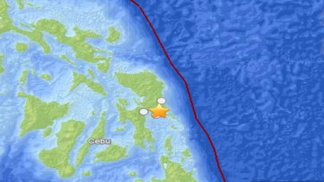 EPICENTER. USGS map of the Philippine quake marks the epicenter with a star. Map courtesy of USGS