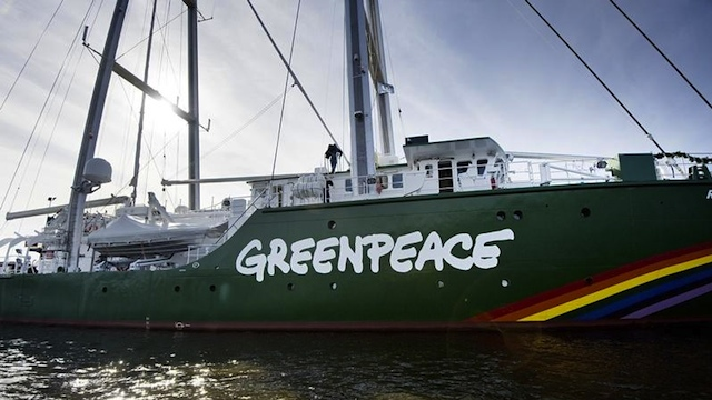 2005 CRASH. Greenpeace's flagship Rainbow Warrior destroyed about 100 sqm of Tubbataha coral in 2005 but immediately paid the fine. Photo from Greenpeace