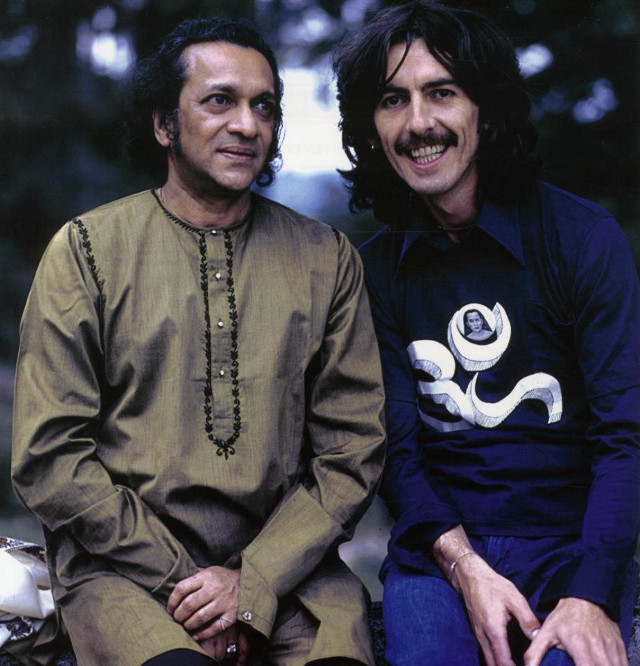 'UNIVERSAL INSPIRATIONS, MEN OF PEACE' wrote music expert Edgar Sallan on his Facebook post with this photo of Ravi Shankar and student George Harrison