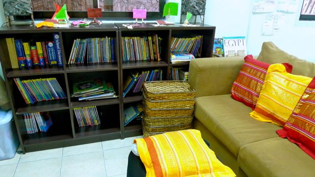 GET LOST IN YOUR book. A reading nook in a 4th grade classroom library