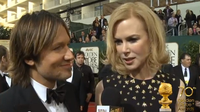 STAR COUPLE. Singer Keith Urban and wife-actress Nicole Kidman on the 70th Golden Globes red carpet. Screen grab from YouTube (GoldenGlobes)