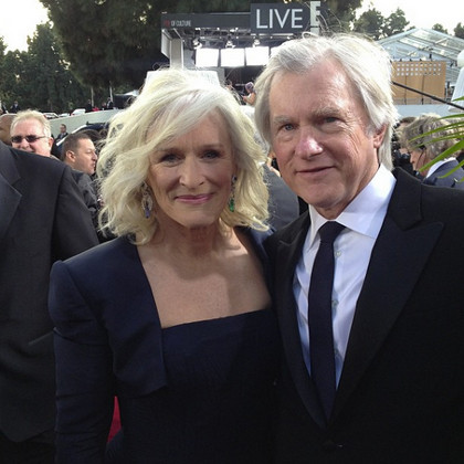 Glenn Close (left) in midnight blue
