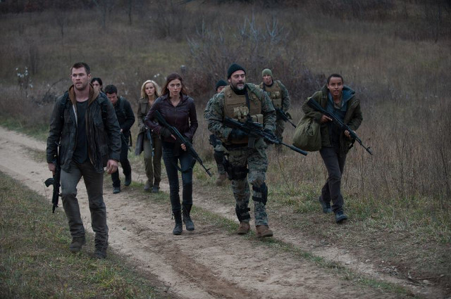 The Wolverines with Tanner (in bonnet) played by Jeffrey Dean Morgan