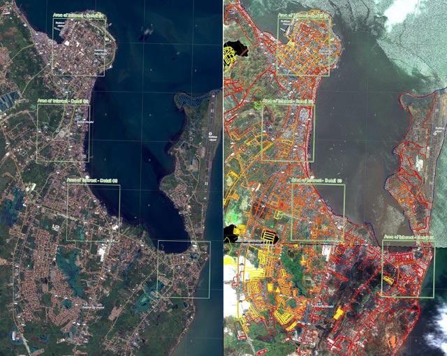 Satellite view of typhoon devastation