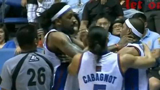 BALKMANIMAL. Petron import Renaldo Balkman strangles teammate Arwind Santos after frustrating loss to Alaska. Photo from PBA Memes Facebook page