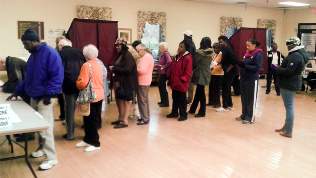 Americans line up to vote in U.S. elections in Rahway, New Jersey.