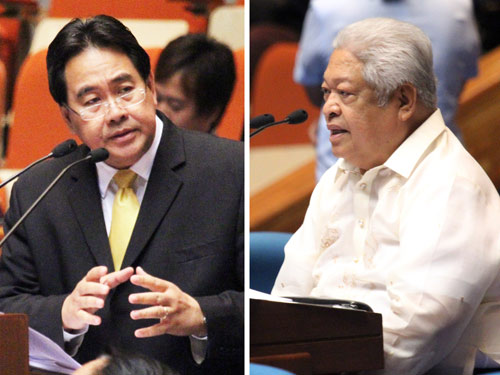 SHOWDOWN CONTINUES. Cagayan Rep Rufus Rodriguez and Albay Rep Edcel Lagman lead opponents and proponents of the RH Bill during the period of amendments. File photo from the House Representatives
