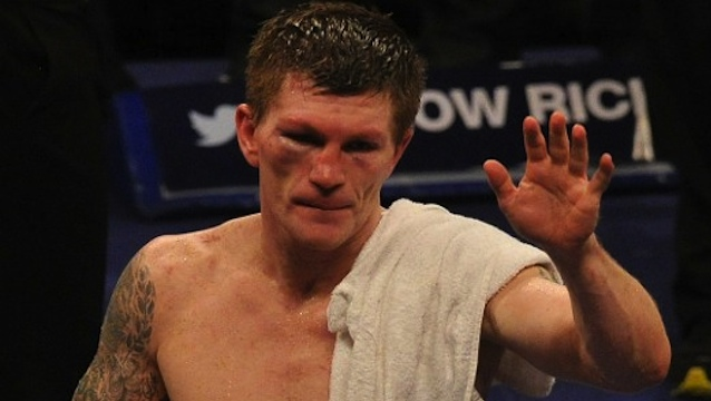 DEFEATED. British boxer Ricky Hatton reacts after losing the welterweight boxing match against Ukranian Vyacheslav Senchenko at The Manchester Arena in Manchester, northwest England, on November 24, 2012. AFP PHOTO/PAUL ELLIS