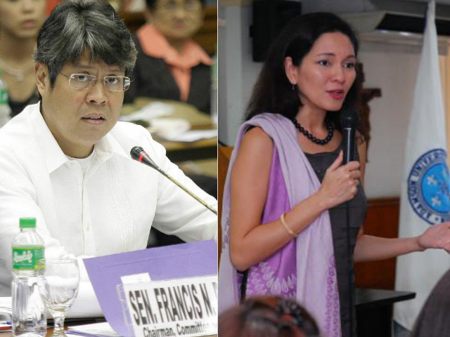 ISSUES PLEASE. (file photos) Senator Kiko Pangilinan and former Rep. Risa Hontiveros want the elections to be about issues and platforms, not personalities. Photos taken from their respective Facebook pages