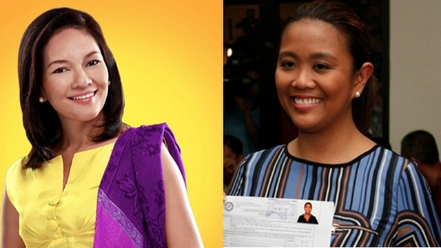 TURNED DOWN. Risa Hontiveros declines the invitation of Nancy Binay for an UNA-Team PNoy dinner on the Sabah standoff. File photo of Hontiveros from her Facebook page, file photo of Binay by Don Regachuelo