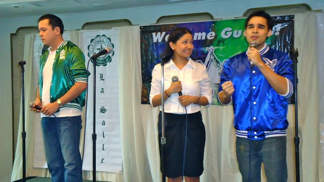 RIVALS IN LOVE. From left: Tommy (Jeremy Aguado), Reena (Cara Baredo) and Quito (Nelsito Gomez) perform 'What If' composed by Ed Gatchalian. Photo and video by Jerald Uy