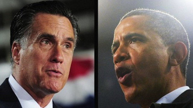 FACE-OFF. US Republican Presidential candidate Mitt Romney and US President Barack Obama slug it out for votes in one of the &quot;swing&quot; states, Ohio. AFP PHOTO/Emmanuel Dunand (L) / Jewel Samad (R)