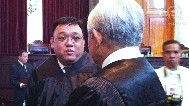 PETITIONER. Harry Roque and Solicitor General Jardeleza during the cybercrime law SC oral arguments. Photo by Ayee Macaraig.