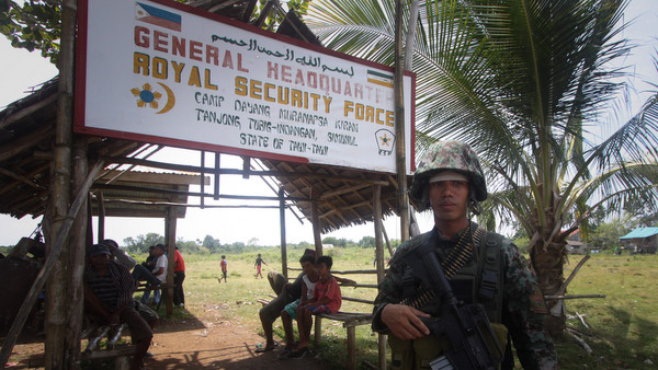 SECURED. A state security force guards outside Camp Dayang of the Royal Security Force in Tubig-Indangan, Simunul, Tawi-Tawi. File photo by Karlos Manlupig