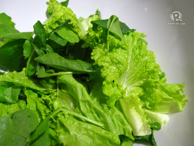 Greens for a healthy, passion-ette Valentine salad