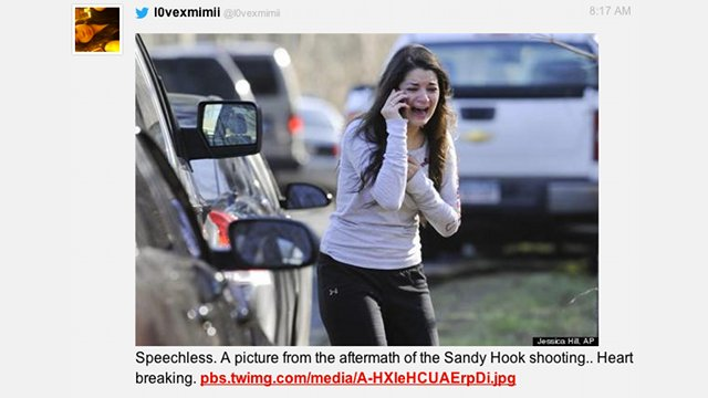 GRIEF. Aftermath of the US school shooting incident. Snapshot from the blog of the New Haven Register