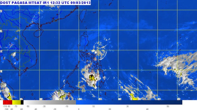 MTSAT ENHANCED-IR Satellite Image 8:32 p.m., 09 March 2013. Image courtesy of PAGASA