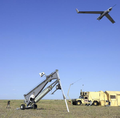 This is a type of Scan Eagle, an unmanned aerial vehicle (UAV). It is equipped with high resolution, day and night camera and thermal imager. 