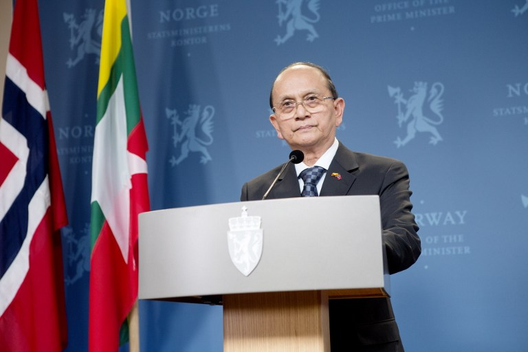 Myanmar President Thein Sein holds a press conference with Norway`s Prime Minister (not in photo) in Oslo on February 26, 2013. AFP PHOTO / THOMAS WINJE OIJORD