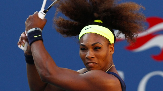 SUCCESSFUL SERENA. Serena Williams hits a backhand against Victoria Azarenka during the Women's Final of the 2012 US Open. File Photo by Philip Hall/USTA