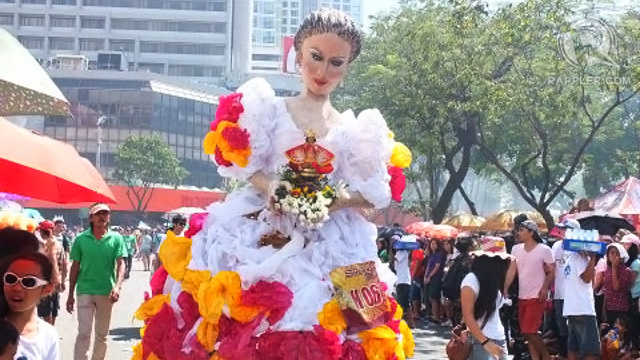 REYNA JUANA in a Filipiniana dress made of plastic bags