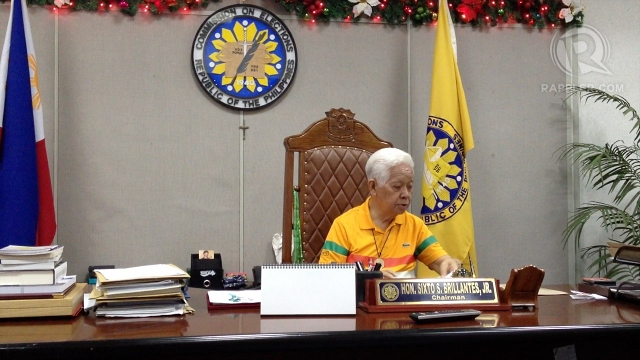 SECOND YEAR. Comelec Chair Sixto Brillantes Jr marks the anniversary of his appointment two years ago, Jan 16, 2011. Photo by Paterno Esmaquel II