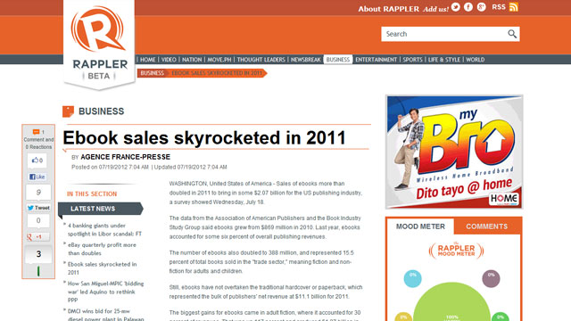 Skyrocketing sales for E-books in 2011