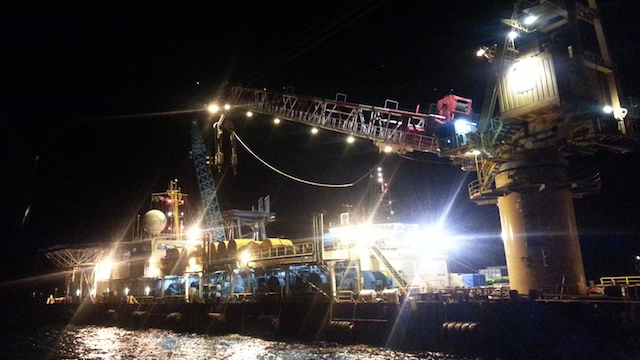 TUBBATAHA BOUND. The SMIT Borneo, a floating crane from a Singapore-based salvage company, left Puerto Princesa on midnight and is on its way to Tubbataha. Photo courtesy of Philippine Coast Guard
