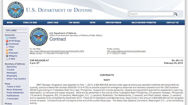 COSTLY SALVAGE. The US Department of Defense published the contract details on its own website, as mandated by US law when private contractors as involved. Screenshot from DOD website