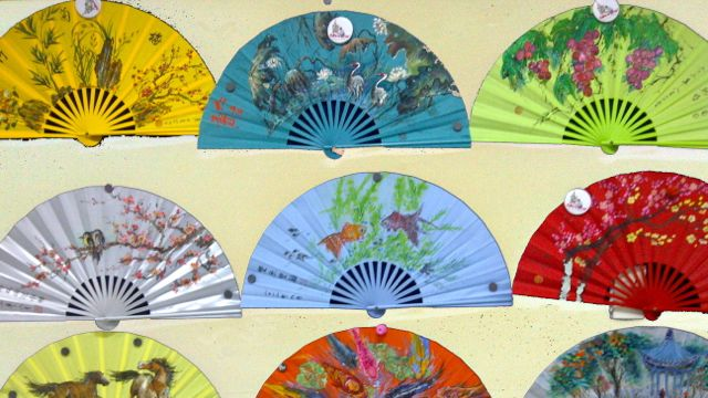 FANS WITH CHINESE PAINTING on exhibit at SM Lanang