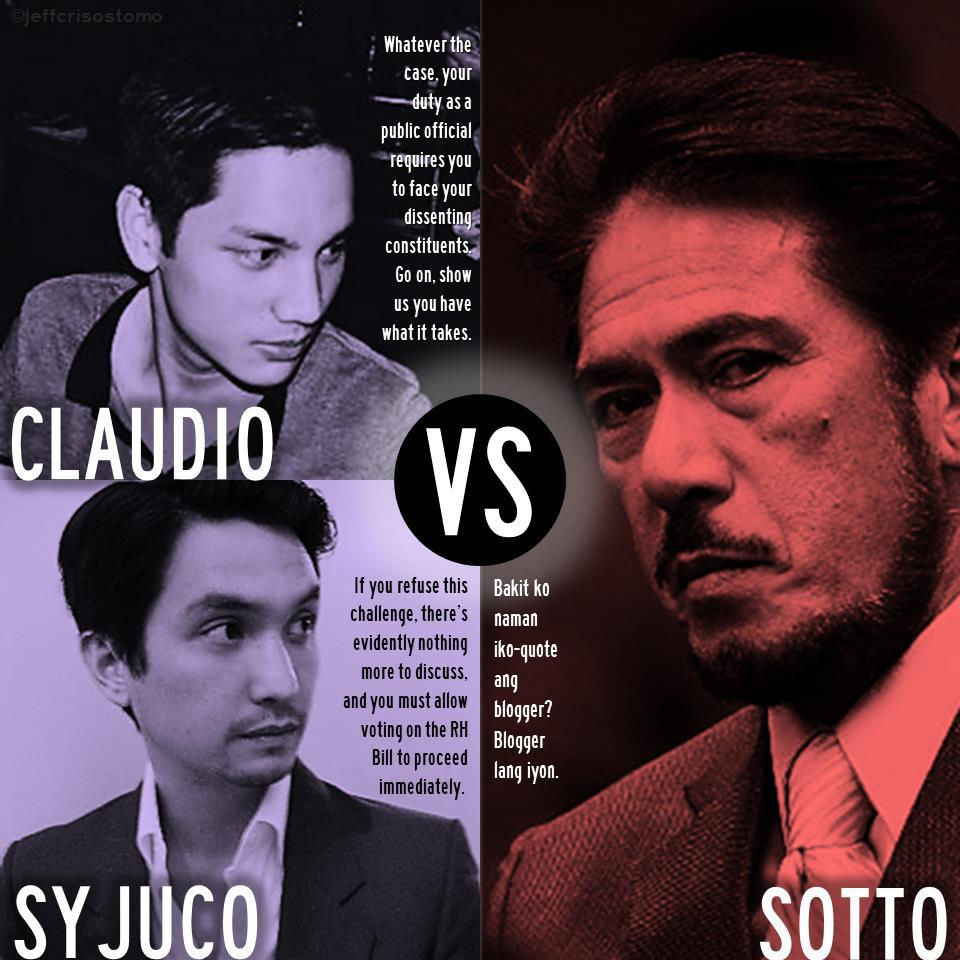 NOT HAPPENING. Sotto rejects the debate challenge from Claudio and Syjuco. Image posted on the Pro RH Bill Facebook page 