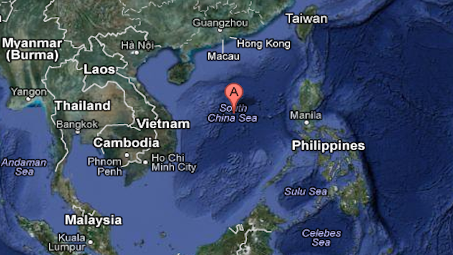 DISPUTED AREA. Google Maps image of the South China Sea