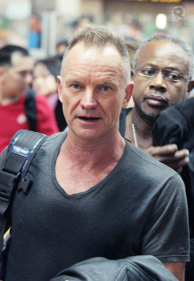 A legal alien. Sting arrives in Manila for his December 9 concert.