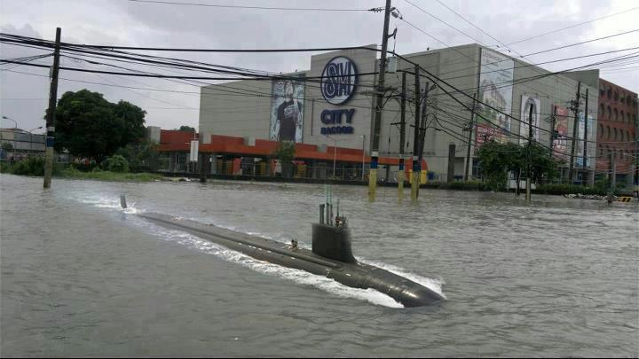 Submarine in the flood? Photo from Facebook