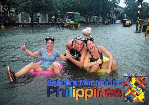 Swimming in the flood, more fun in the Philippines. Photo from Facebook