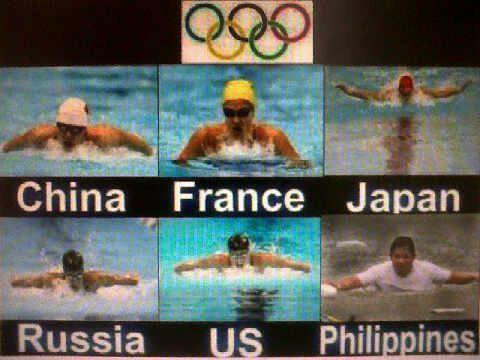 Swimming in the flood the Olympics way. Photo from Facebook